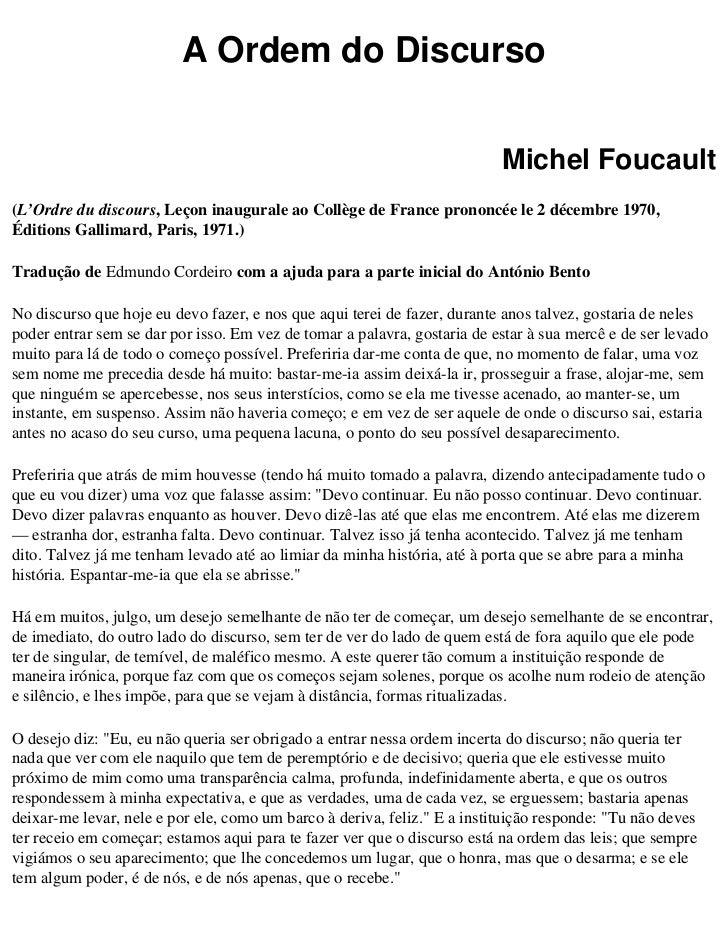 A Ordem do Discurso                                                                          Michel Foucault(L'Ordre du di...