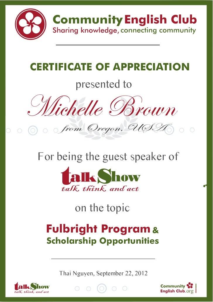 Certificate of Appreciation #2 Michell Brown