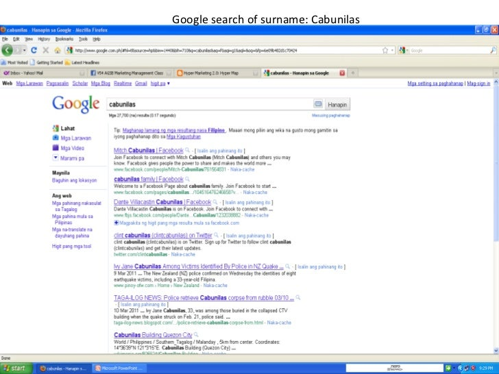 Google search of surname: Cabunilas