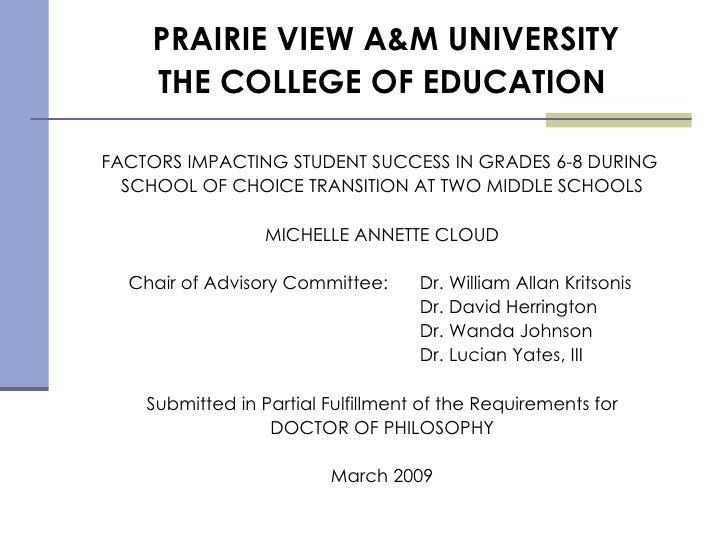 Dr. Michelle Annette Cloud, PhD Dissertation Defense, Dr. William Allan Kritsonis, Dissertation Chair