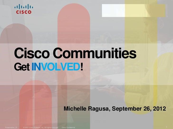 Michelle Ragusa  Cisco Communities 9 26-2012