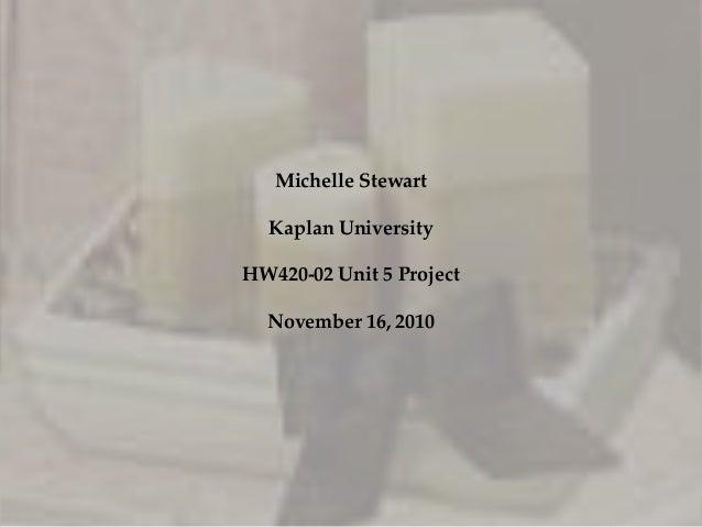 Michelle Stewart Kaplan University HW420-02 Unit 5 Project November 16, 2010