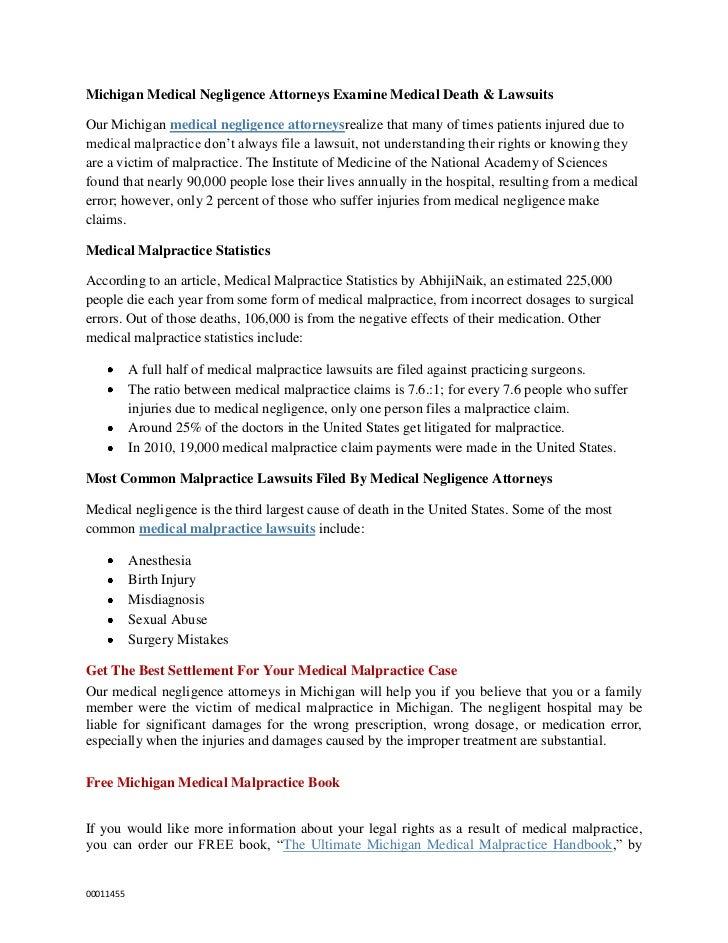 Michigan Medical Negligence Attorneys Examine Medical Death & LawsuitsOur Michigan medical negligence attorneysrealize tha...