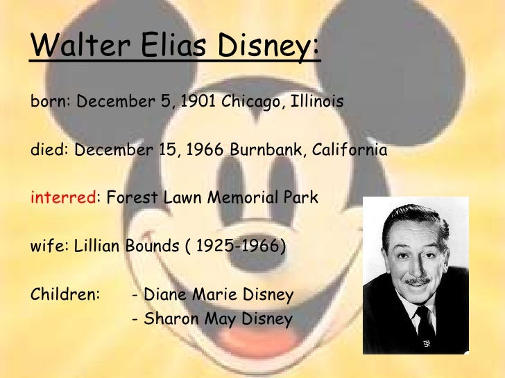 a biography of walter elias disney a creator of mickey mouse Walt disney, byname of walter elias disney, (born december 5, 1901, chicago,   as the creator of such cartoon characters as mickey mouse and donald duck.