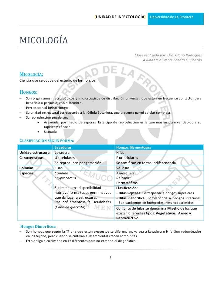 [UNIDAD DE INFECTOLOGÍA] Universidad de La FronteraMICOLOGÍA                                                              ...