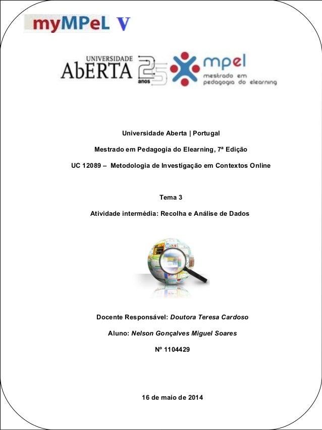 POSTER TEMPLATE BY: www.PosterPresentations.c om Universidade Aberta | Portugal Mestrado em Pedagogia do Elearning, 7ª Edi...