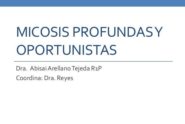 MICOSIS PROFUNDAS Y  OPORTUNISTAS  Dra. Abisai Arellano Tejeda R1P  Coordina: Dra. Reyes