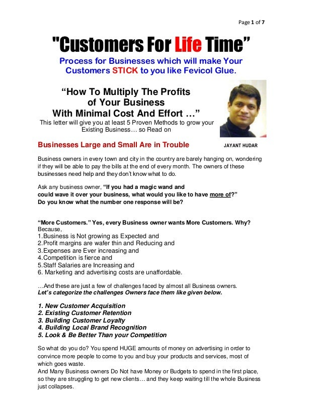"Page 1 of 7     ""Customers For Life Time""        Process for Businesses which will make Your         Customers STICK to yo..."
