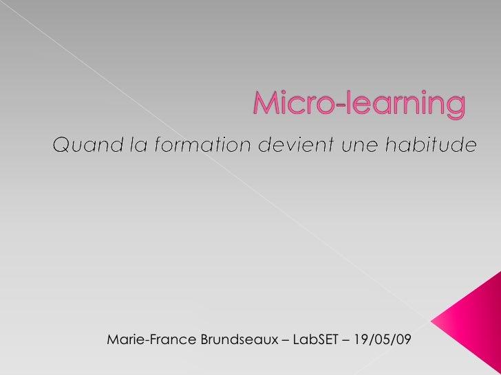 Marie-France Brundseaux – LabSET – 19/05/09