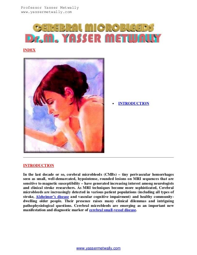 Professor Yasser Metwally www.yassermetwally.com  INDEX    INTRODUCTION  INTRODUCTION In the last decade or so, cerebral ...