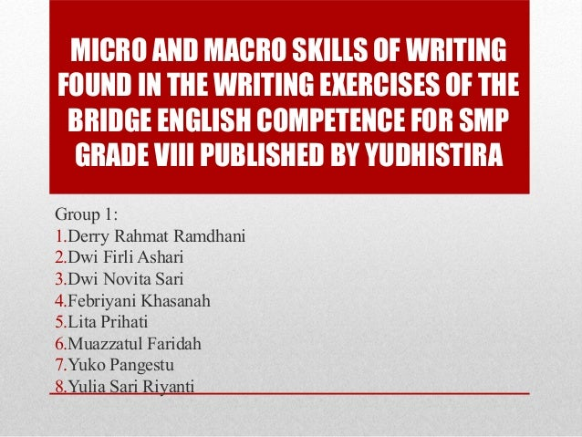 MICRO AND MACRO SKILLS OF WRITING FOUND IN THE WRITING EXERCISES OF THE BRIDGE ENGLISH COMPETENCE FOR SMP GRADE VIII PUBLI...