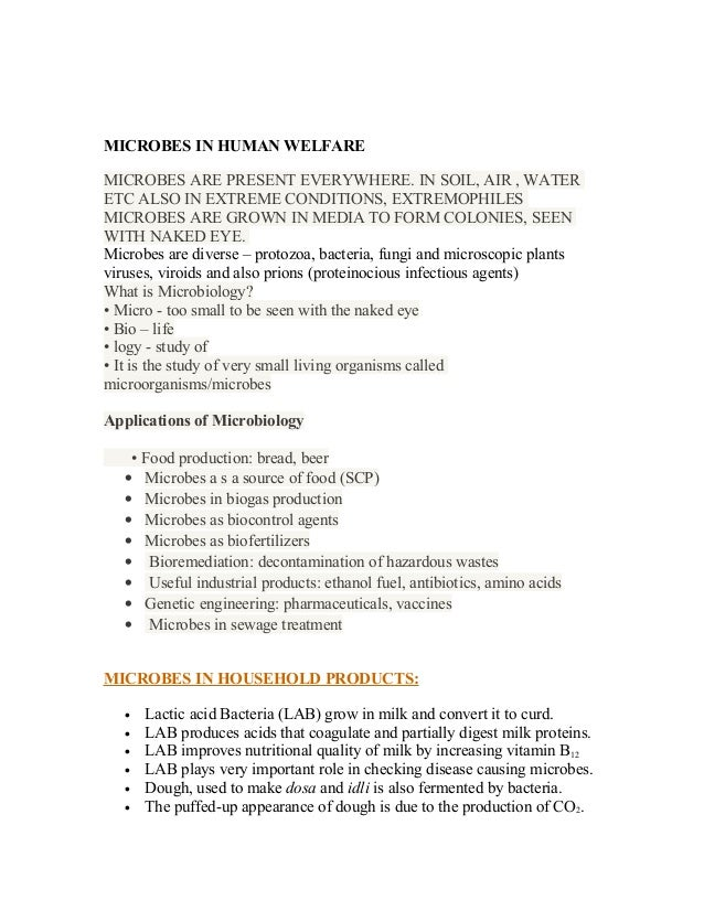 Notes for Microbes in Human Welfare - 12th Biology