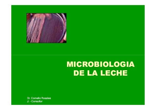 Dr. Cornelio RosalesDr. Cornelio Rosales J.J. -- ConsultorConsultor MICROBIOLOGIAMICROBIOLOGIA DE LA LECHEDE LA LECHE