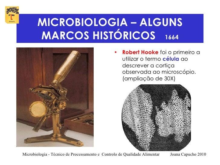 MICROBIOLOGIA – ALGUNS MARCOS HISTÓRICOS  1664 <ul><li>Robert Hooke  foi o primeiro a utilizar o termo  célula  ao descrev...