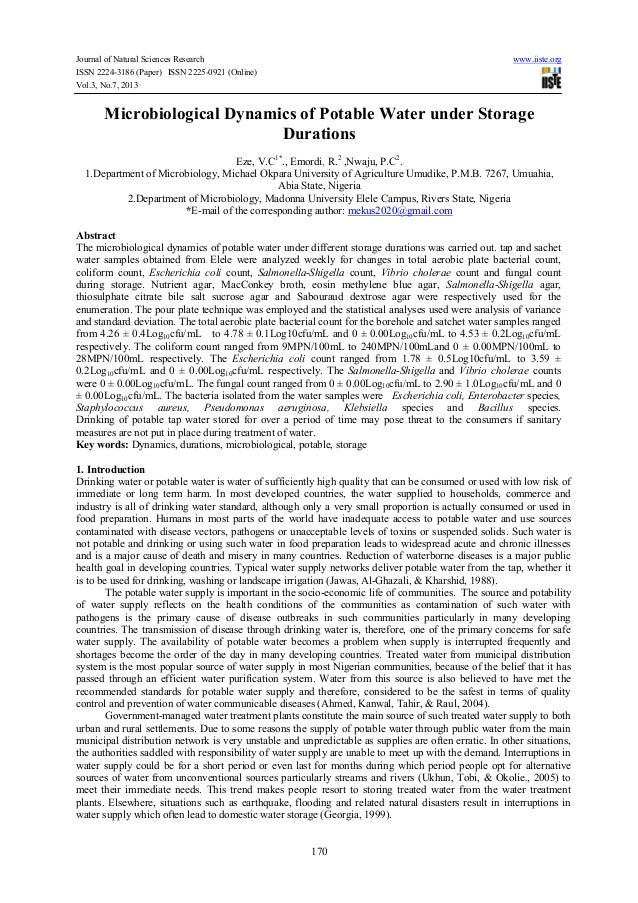 Journal of Natural Sciences Research www.iiste.org ISSN 2224-3186 (Paper) ISSN 2225-0921 (Online) Vol.3, No.7, 2013 170 Mi...