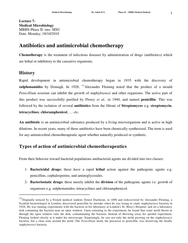 Lecture 7-<br />Medical Microbiology<br />MBBS-Phase II- ims- MSU<br />Date: Monday; 18/10/2010<br />Antibiotics and antim...