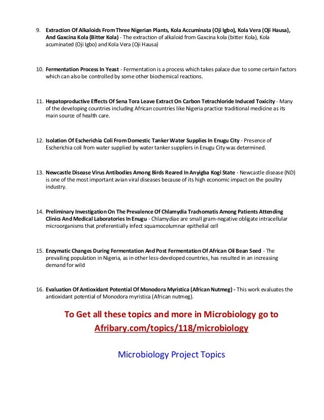 Microbiology essay topics