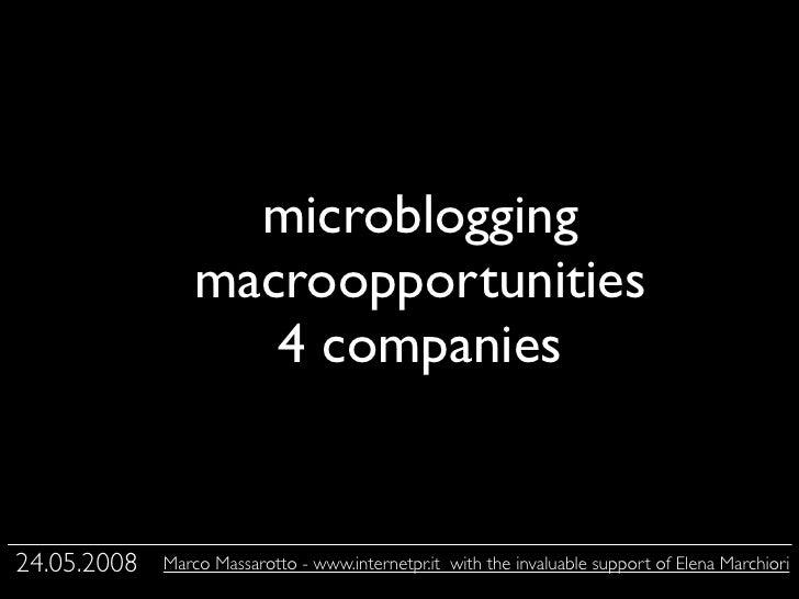 microblogging                  macroopportunities                         Testo                     4 companies   24.05.20...