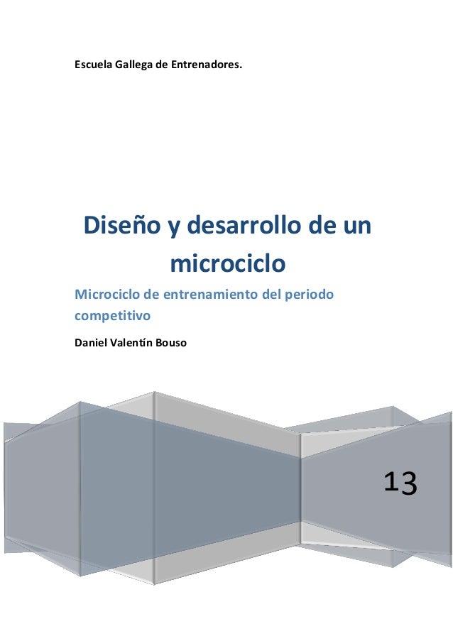 Escuela Gallega de Entrenadores. 13 Diseño y desarrollo de un microciclo Microciclo de entrenamiento del periodo competiti...