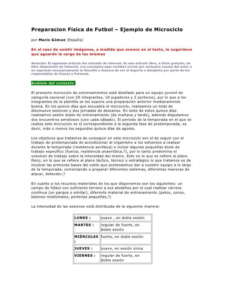 Preparacion Fisica de Futbol – Ejemplo de Microciclopor Mario Gómez (España)En el caso de existir imágenes, a medida que a...