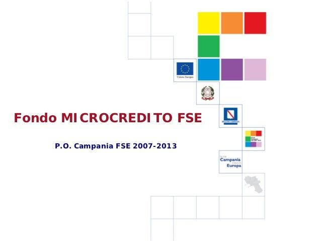 Fondo Microcredito FSE Campania - Presentazione