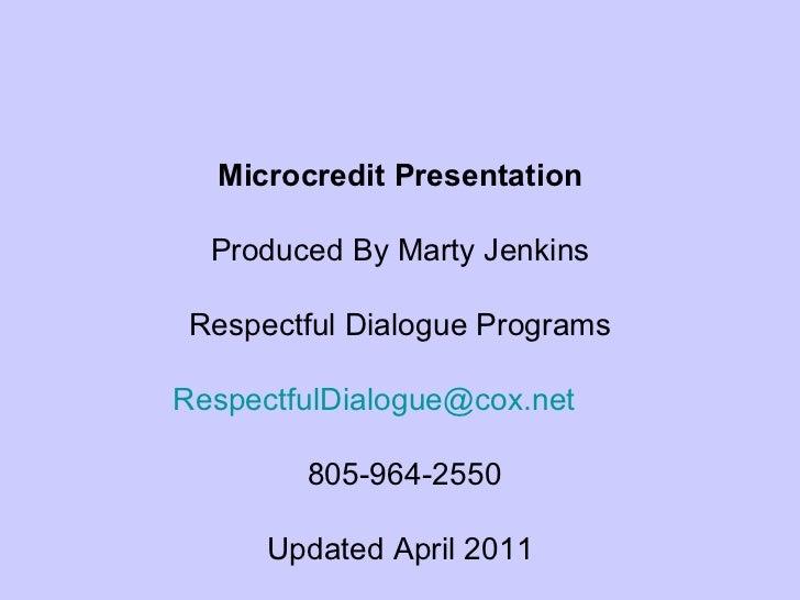 Microcredit Presentation April 2011