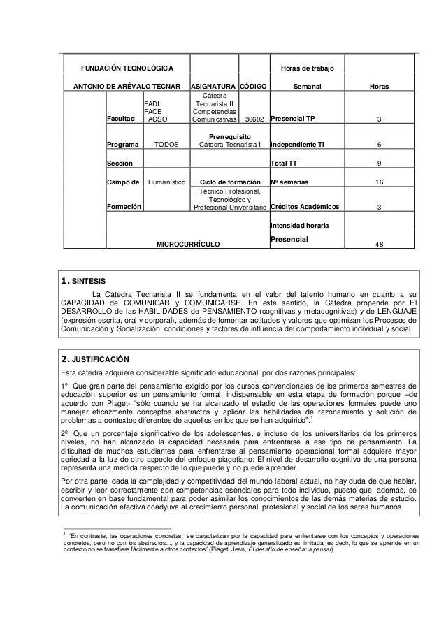 FUNDACIÓN TECNOLÓGICA Horas de trabajoANTONIO DE ARÉVALO TECNAR ASIGNATURA CÓDIGO Semanal HorasFacultadFADIFACEFACSOCátedr...