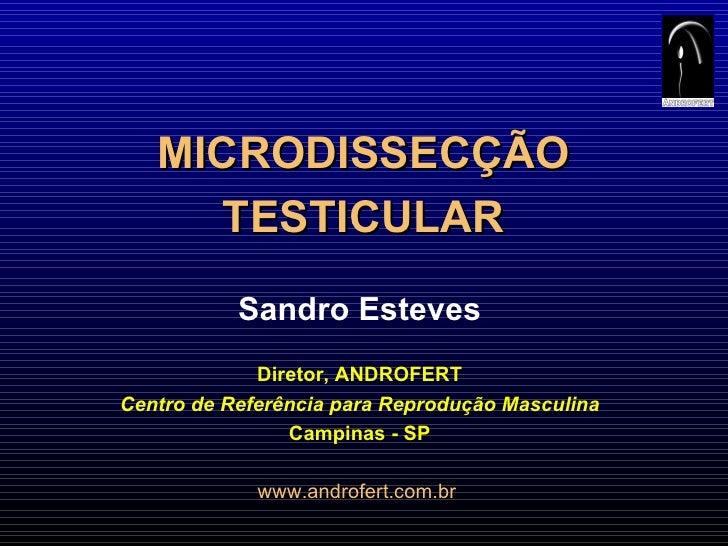 MICRODISSECÇÃO TESTICULAR Sandro Esteves Diretor, ANDROFERT Centro de Referência para Reprodução Masculina Campinas - SP w...