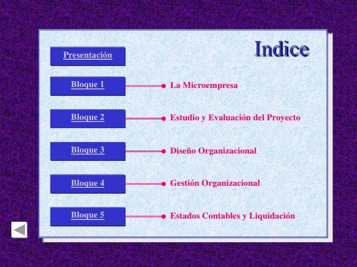 Presentación                        Indice  Bloque 1      La Microempresa    Bloque 2      Estudio y Evaluación del Proyec...