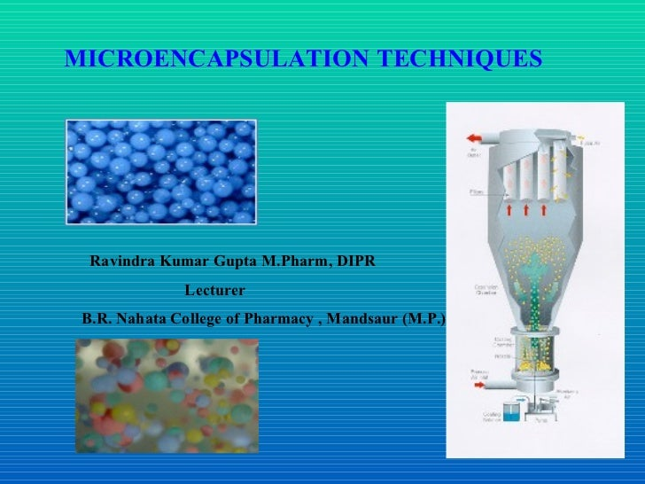MICROENCAPSULATION  TECHNIQUES   Ravindra Kumar Gupta M.Pharm, DIPR Lecturer B.R. Nahata College of Pharmacy , Mandsaur (M...