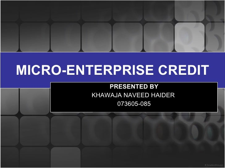 MICRO-ENTERPRISE CREDIT PRESENTED BY KHAWAJA NAVEED HAIDER  073605-085