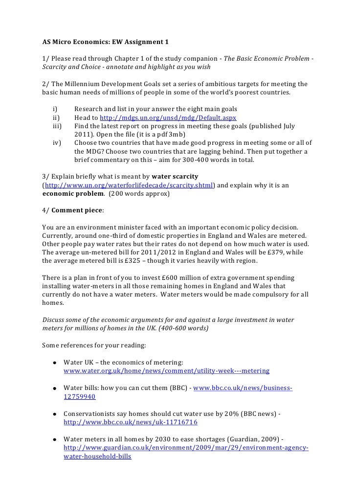 AS Micro Economics: EW Assignment 1<br />1/ Please read through Chapter 1 of the study companion - The Basic Economic Prob...