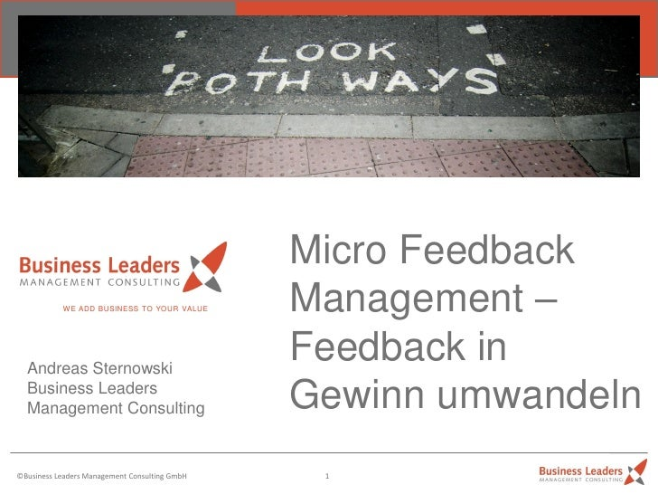 Micro Feedback           WE ADD BUSINESS TO YOUR VALUE       Management –  Andreas Sternowski                             ...