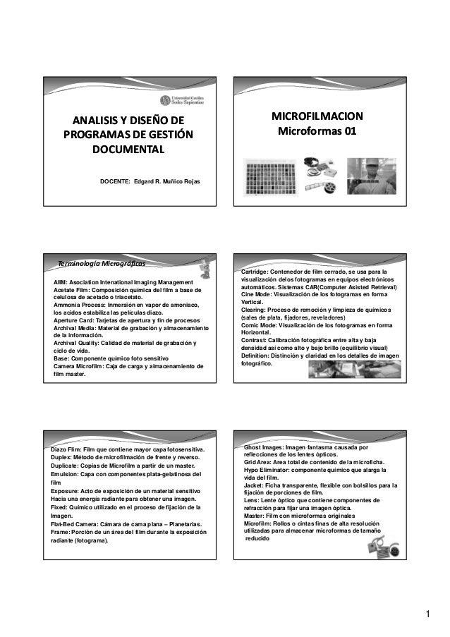 Microfilm  (terminos  rollos, etapas de microfilmacion) - ucss