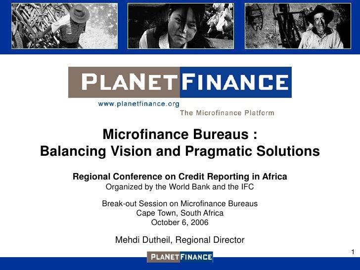 Credit Bureaus in Microfinance