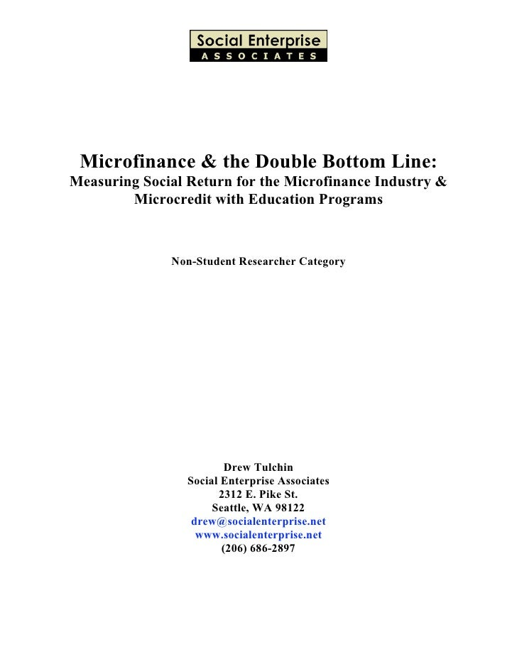 Microfinance and the Double Bottom Line