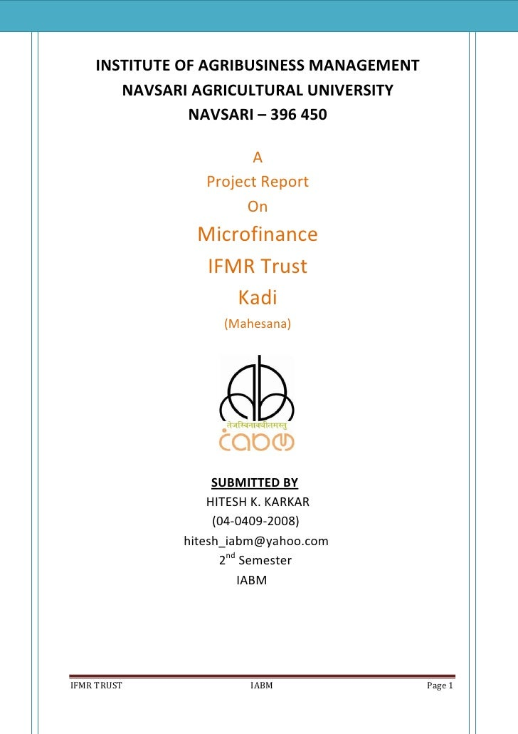 INSTITUTE OF AGRIBUSINESS MANAGEMENT        NAVSARI AGRICULTURAL UNIVERSITY                NAVSARI – 396 450              ...