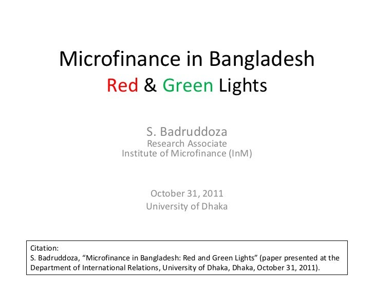 Microfinance in Bangladesh: Red and Green Lights
