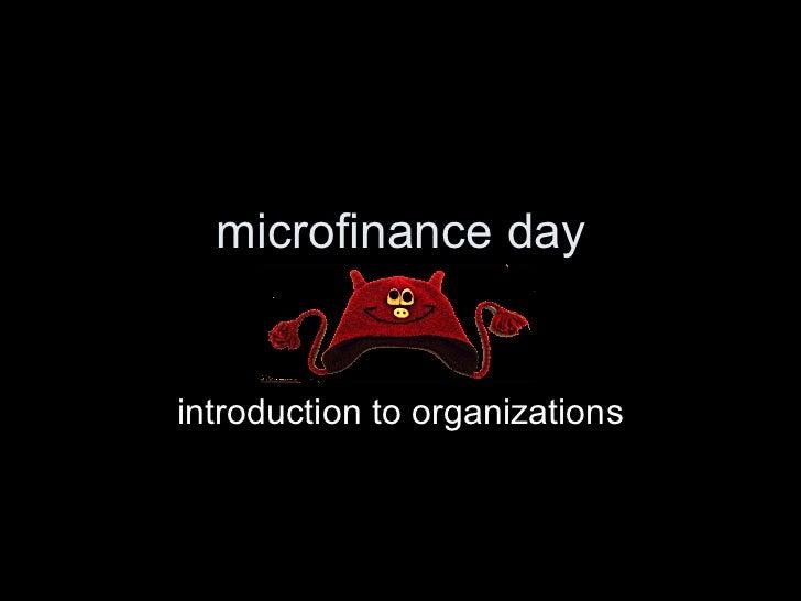 Microfinance org intros