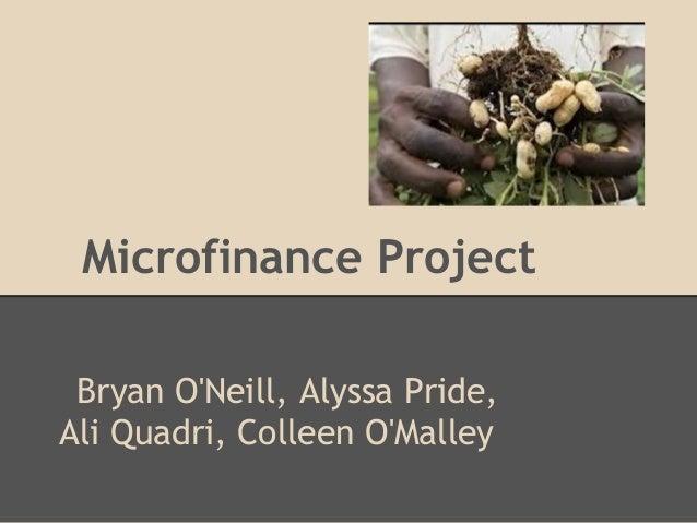 Microfinance Project Bryan ONeill, Alyssa Pride,Ali Quadri, Colleen OMalley