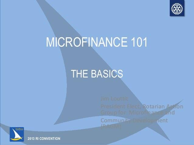 Microfinance: The Basics  (Presentation 1 of 2)