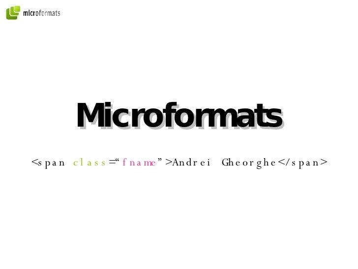 Microformats - 2008