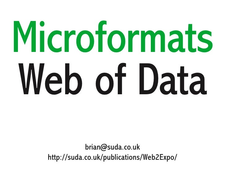 Microformats a Web of Data