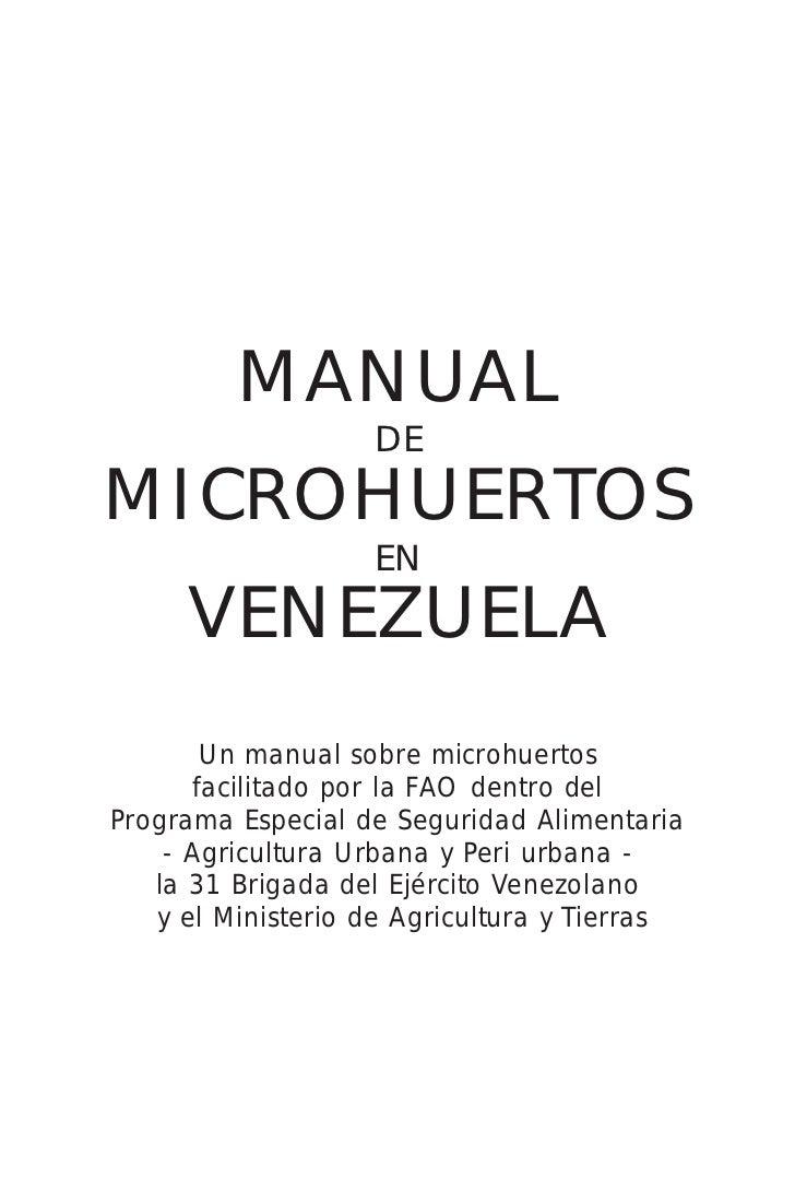 MANUAL                   DEMICROHUERTOS                   EN     VENEZUELA       Un manual sobre microhuertos      facilit...