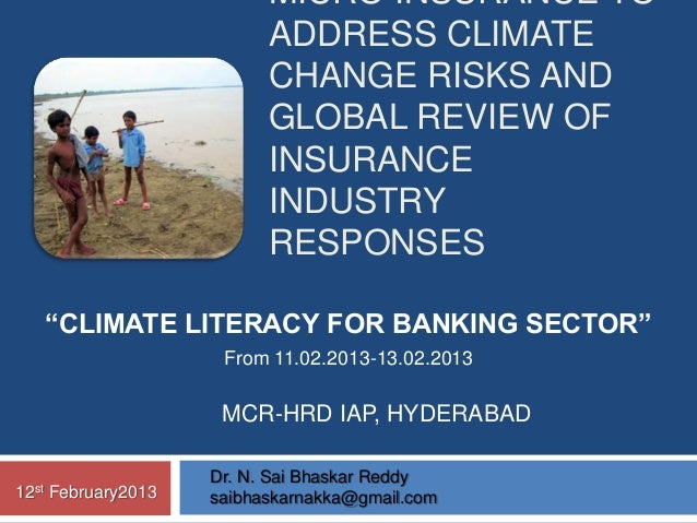 MICRO INSURANCE TO                            ADDRESS CLIMATE                            CHANGE RISKS AND                 ...