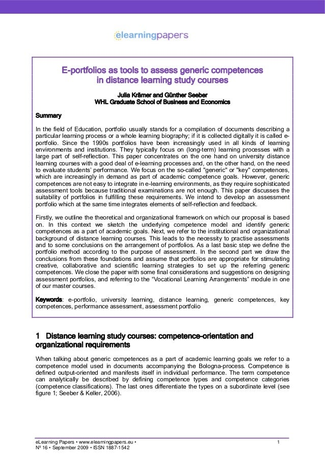 E-portfolios as tools to assess generic competences in distance learning study courses Julia Krämer and Günther Seeber WHL...