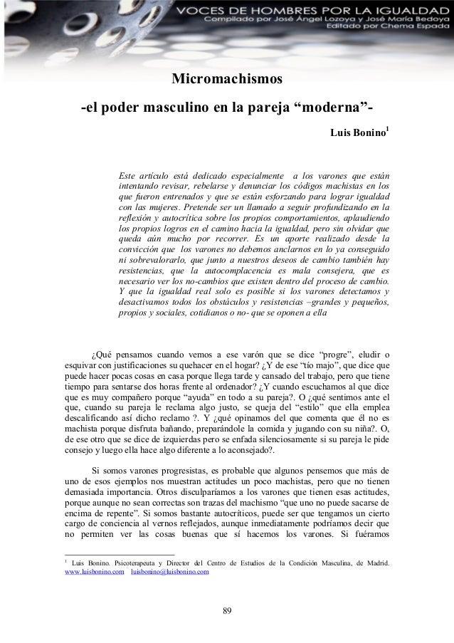 "Micromachismos     -el poder masculino en la pareja ""moderna""-                                                            ..."