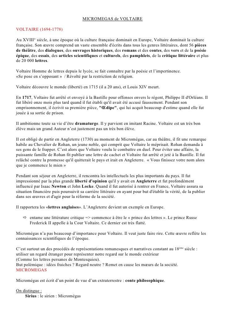 MICROMEGAS de VOLTAIREVOLTAIRE (1694-1778)Au XVIII° siècle, à une époque où la culture française dominait en Europe, Volta...