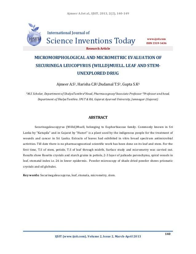 Micromorphological and micrometric evaluation of securinega leucopyrus (willd) muell. leaf and stem unexplored drug ijsit-2.2.4