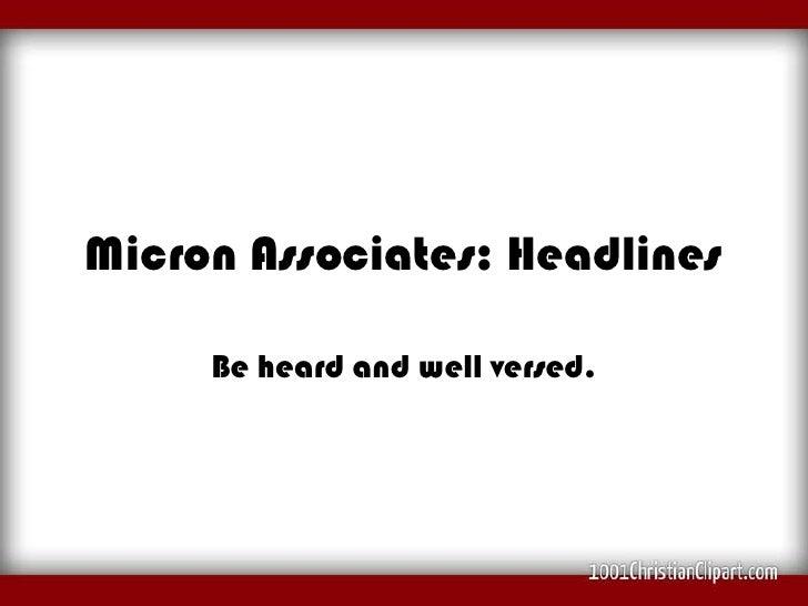 Micron Associates: Headlines,micron associates,  micron associates central hong kong articles, micron associates barcelona, madrid spain